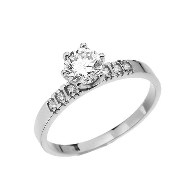 Diamond White Gold Engagement Solitaire Ring With 1 Carat White Topaz Center stone