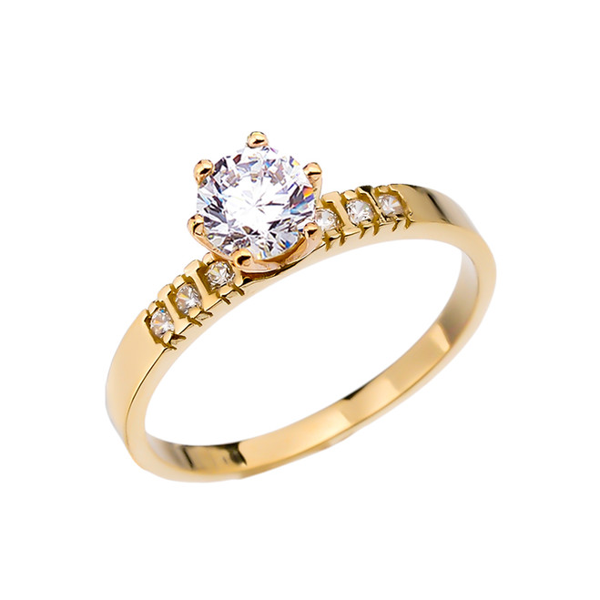 Diamond Yellow Gold Engagement Solitaire Ring With 1 Carat White Topaz Center stone