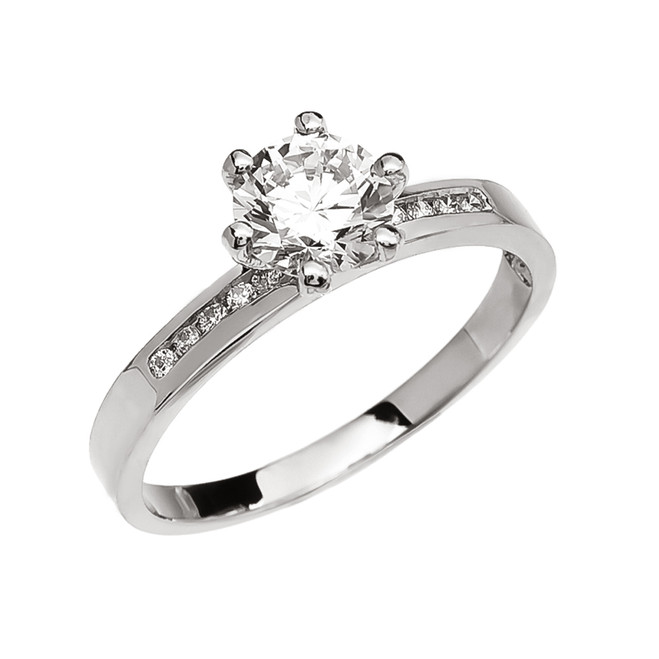 Diamond Channel-Set White Gold Engagement Solitaire Ring With 1 Carat White Topaz Center stone