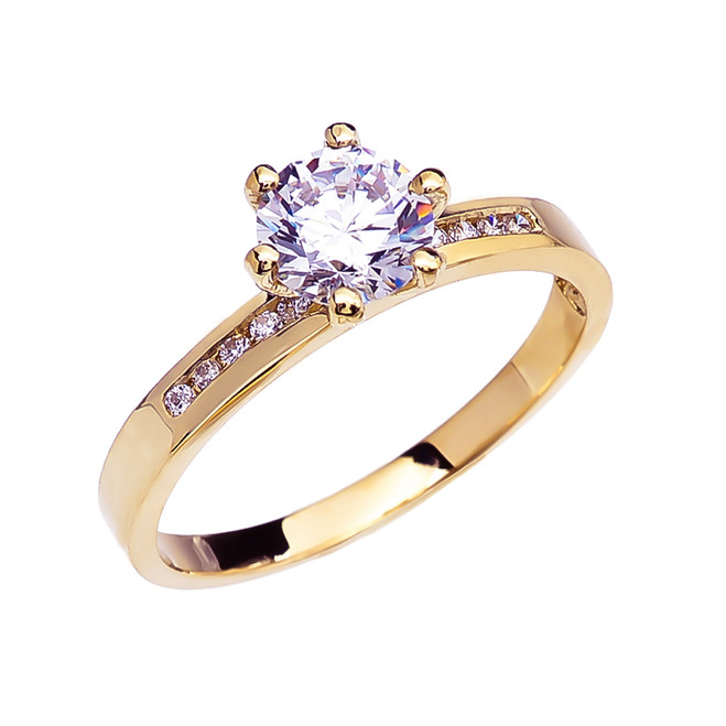 Diamond Channel-Set Yellow Gold Engagement Solitaire Ring With 1 Carat White Topaz Center stone