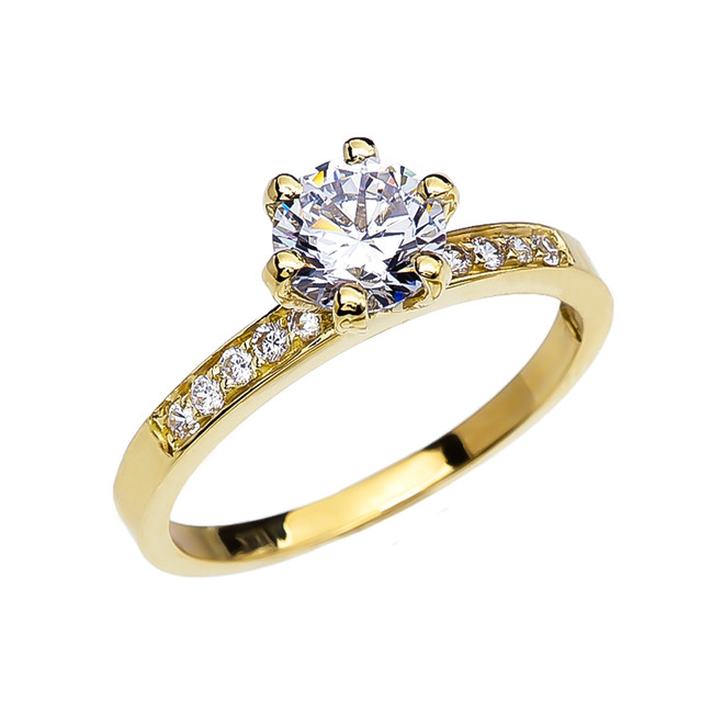Diamond Solitaire Engagement Ring With 1 Carat White Topaz Center stone In Gold (Yellow/Rose/White)