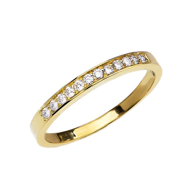 Diamond Gold Wedding Band In Gold (Yellow/Rose/White)