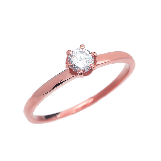 Diamond Rose Gold Solitaire Engagement Ring