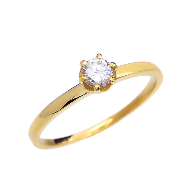 Diamond Yellow Gold Solitaire Engagement Ring