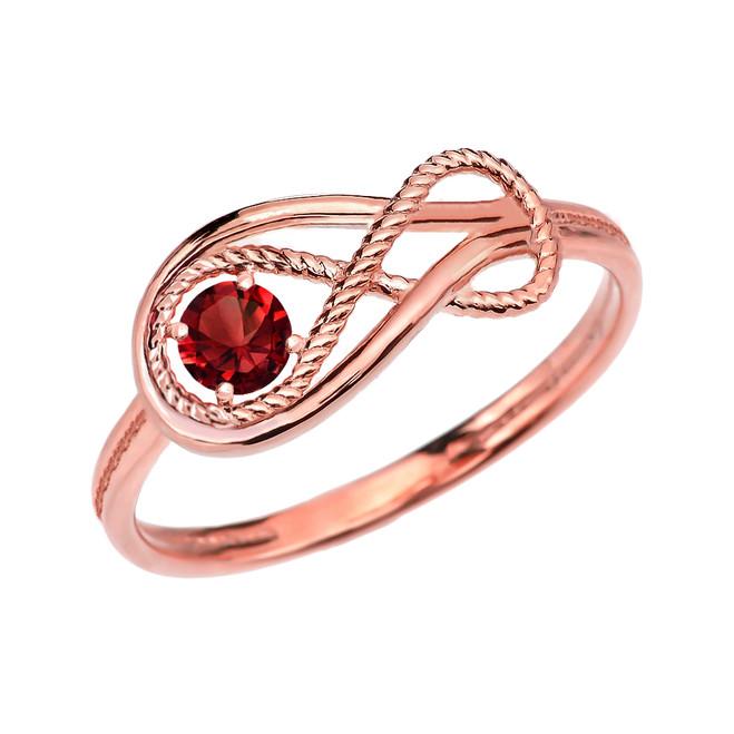Garnet Rope Infinity Rose Gold Ring