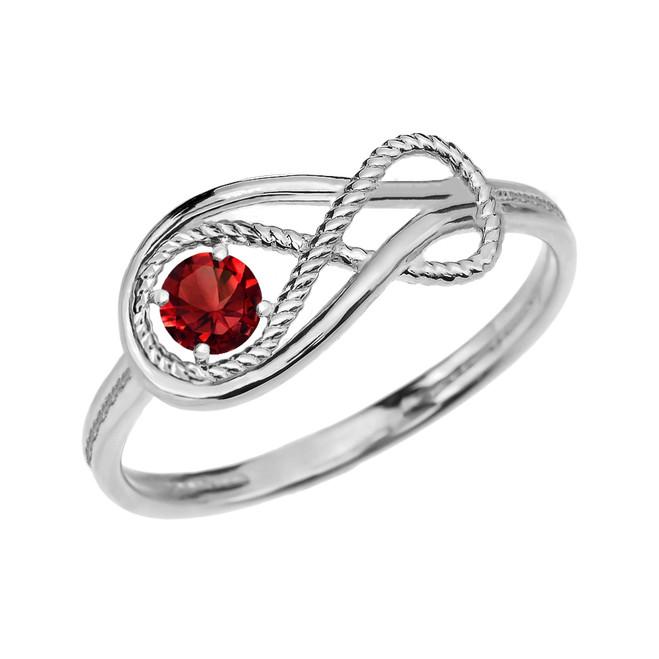 Garnet Rope Infinity White Gold Ring