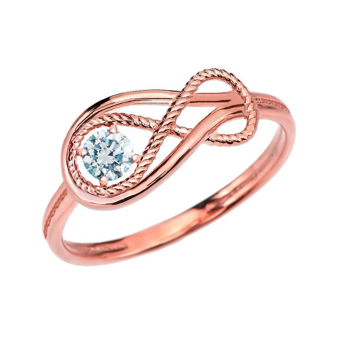 Genuine Aquamarine Rope Infinity Rose Gold Ring