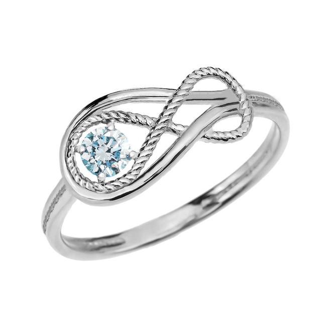 Genuine Aquamarine Rope Infinity White Gold Ring