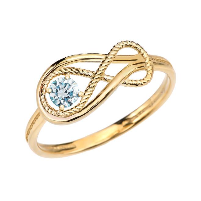 Genuine Aquamarine Rope Infinity Yellow Gold Ring