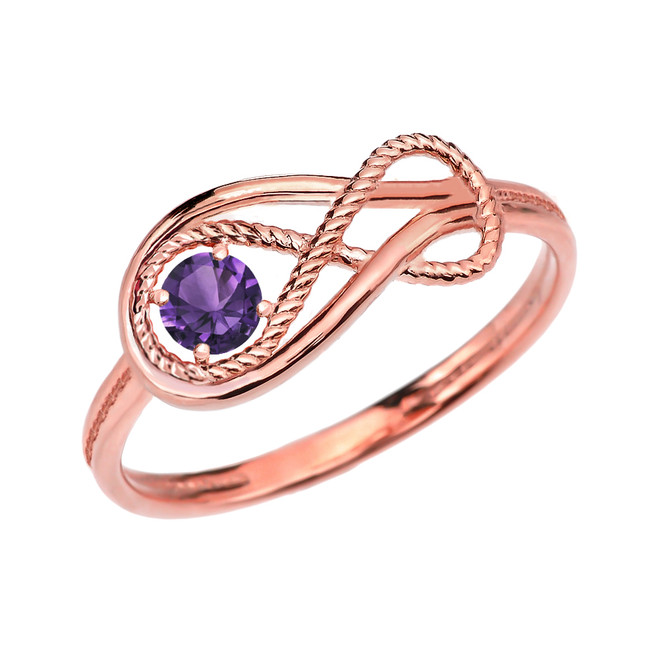 Alexandrite C.Z Rope Infinity Rose Gold Ring