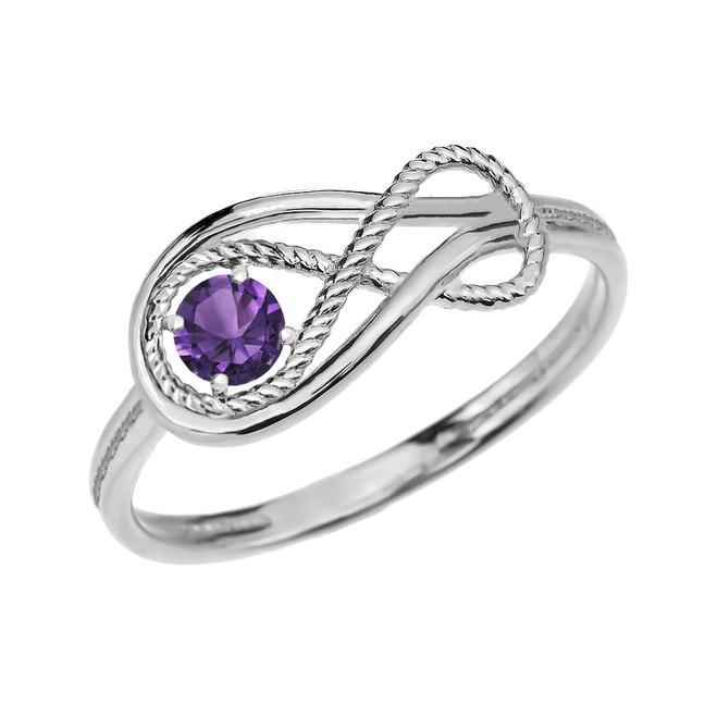 Alexandrite C.Z Rope Infinity White Gold Ring