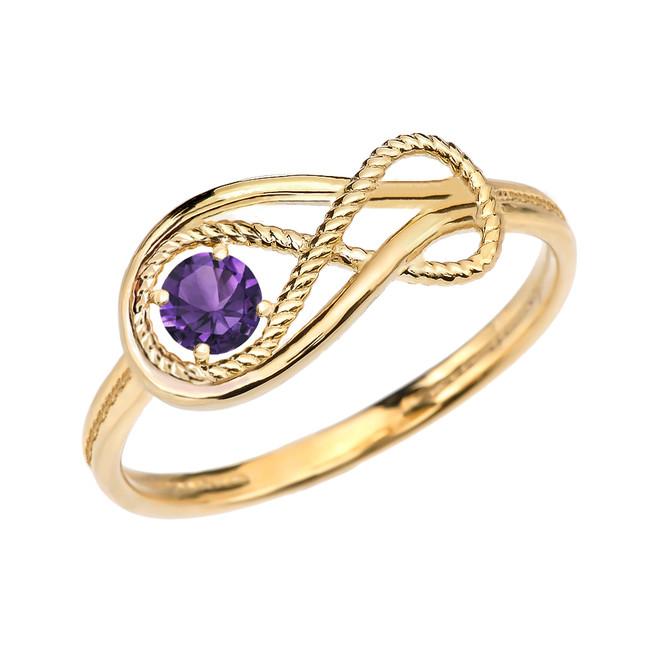 Alexandrite C.Z Rope Infinity Yellow Gold Ring
