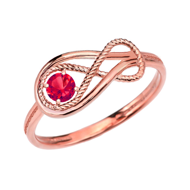 Ruby Rope Infinity Rose Gold Ring