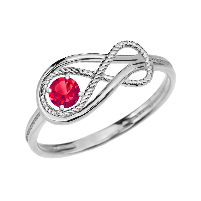 Ruby Rope Infinity White Gold Ring