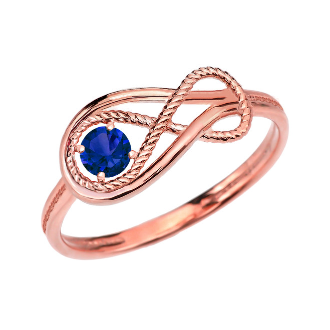 Sapphire Rope Infinity Rose Gold Ring