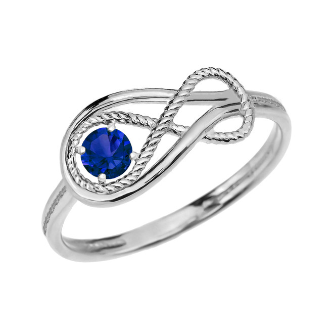 Sapphire Rope Infinity White Gold Ring