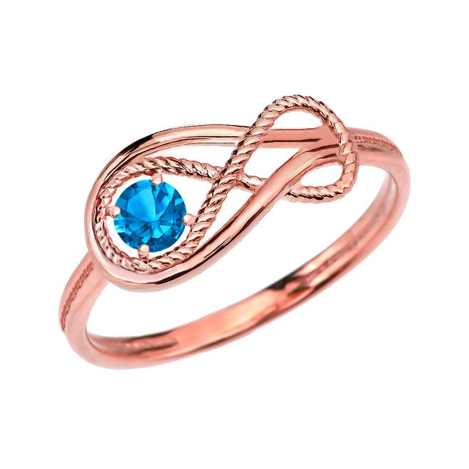 Blue Topaz Rope Infinity Rose Gold Ring