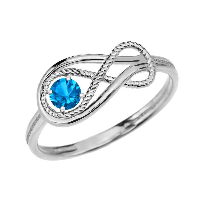 Blue Topaz Rope Infinity White Gold Ring