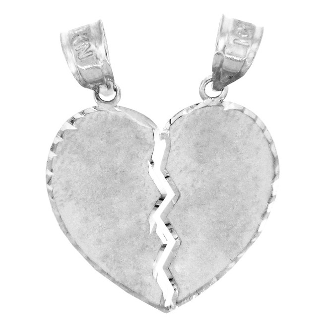 White Gold Gold Breakable Heart Solid Gold Pendant