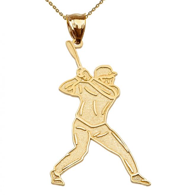 Baseball Player Sports Yellow Gold Pendant Necklace