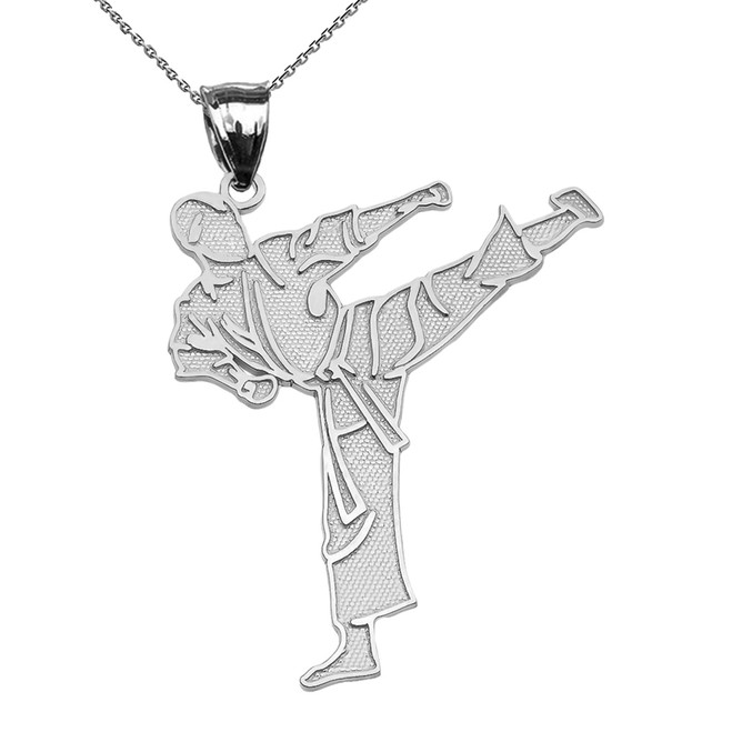 Karate Martial Arts White Gold Pendant Necklace