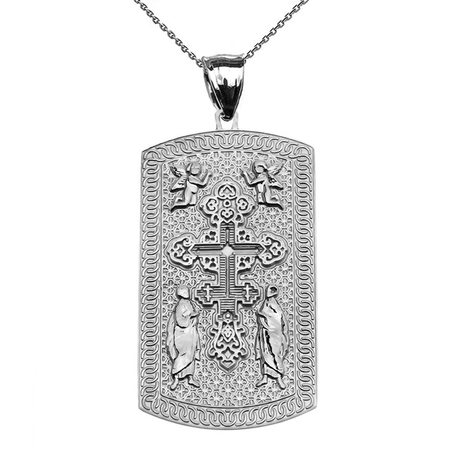Russian Orthodox Cross White Gold Engraveable Dog Tag Pendant Necklace