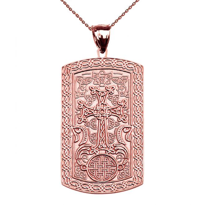 Armenian Cross (Khachkar) Rose Gold Engraveable Dog Tag Pendant Necklace