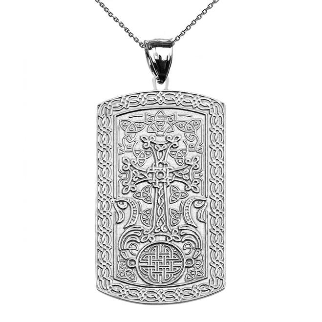 Armenian Cross (Khachkar) Sterling Silver Engraveable Dog Tag Pendant Necklace