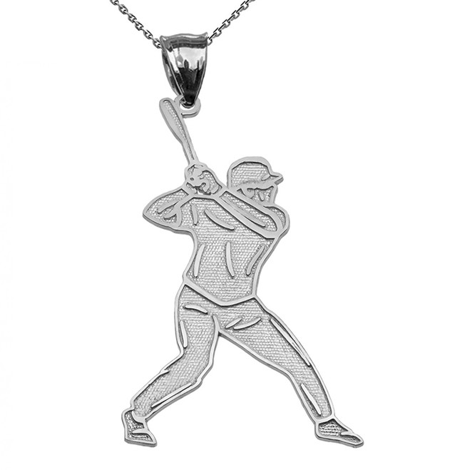 Baseball Player Sterling Silver Pendant Necklace