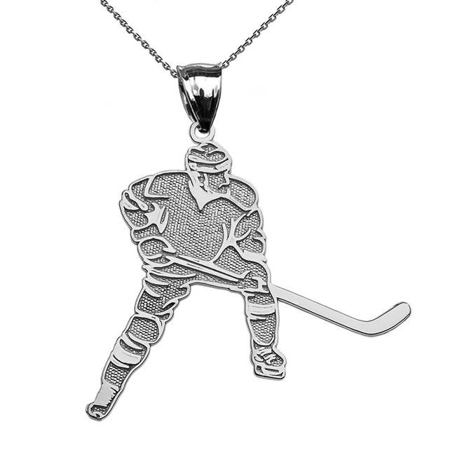 Hockey Player Sports White Gold Pendant Necklace
