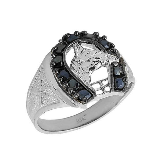Solid White Gold Men's Black Onyx Horseshoe Ring