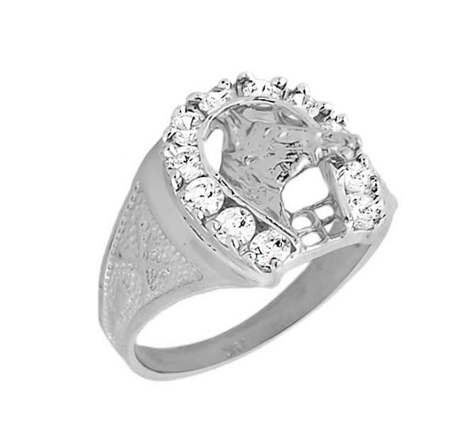 White Gold Men's White Topaz Horseshoe Ring