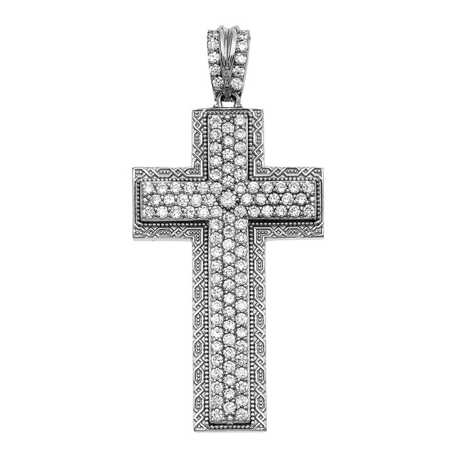 White Gold 3 Carat Diamond Cross Pendant