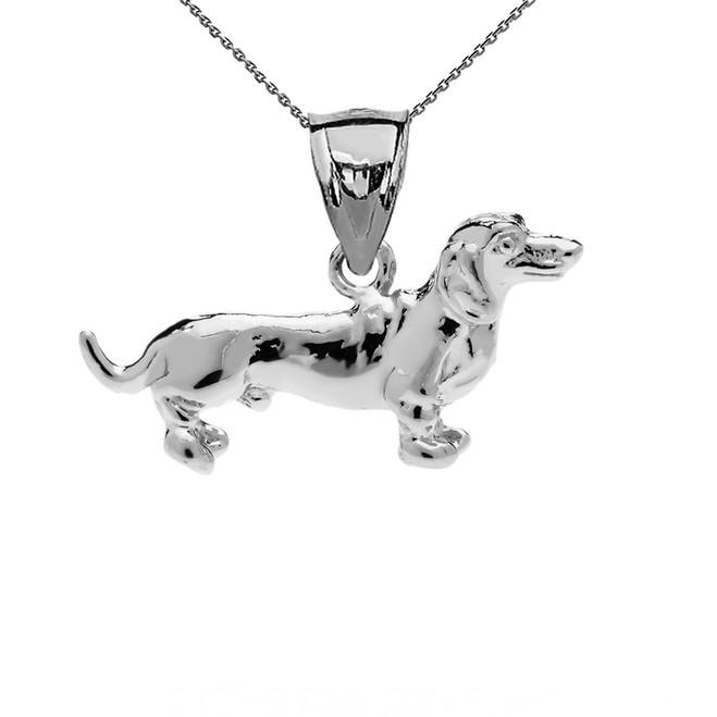 White Gold Dachshund Pendant Necklace