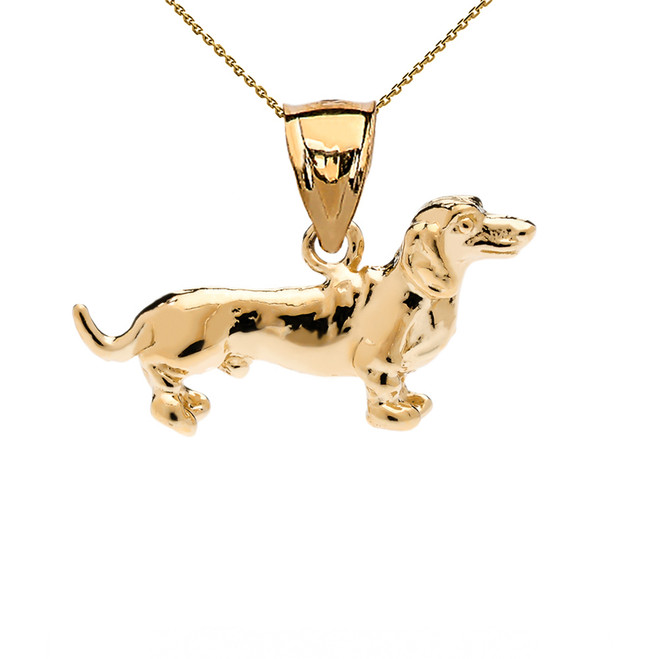 Yellow Gold Dachshund Pendant Necklace