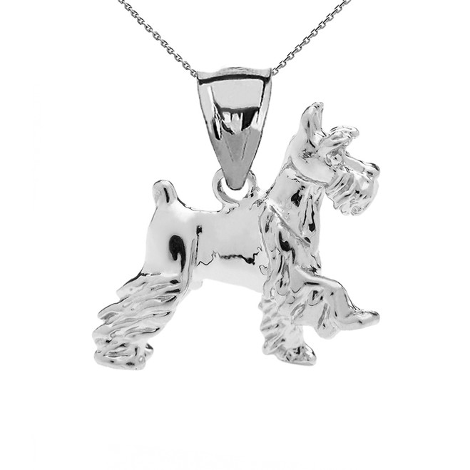White Gold Schnauzer Pendant Necklace