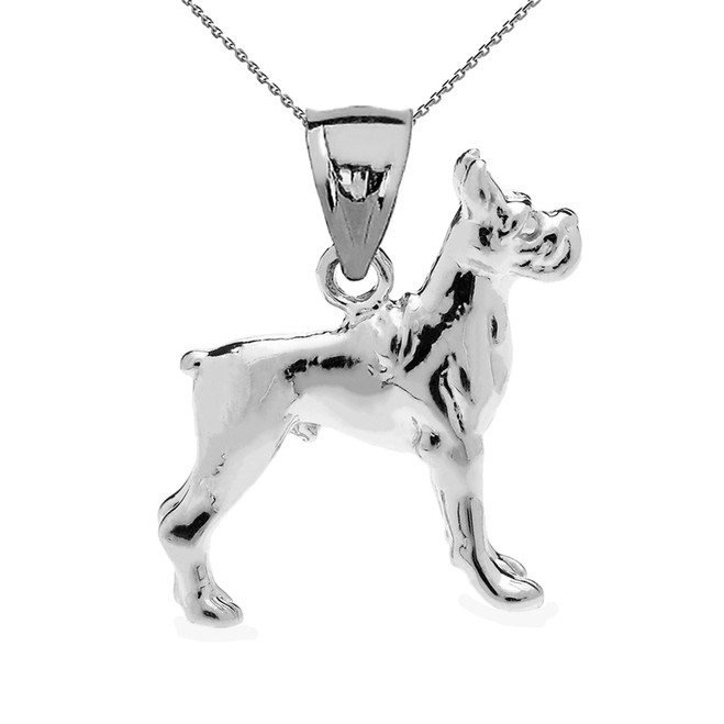 Sterling Silver Boxer Pendant Necklace