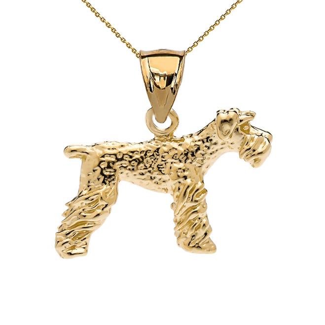 Yellow Gold Lakeland Terrier Pendant Necklace