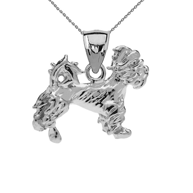 White Gold Terrier Pendant Necklace