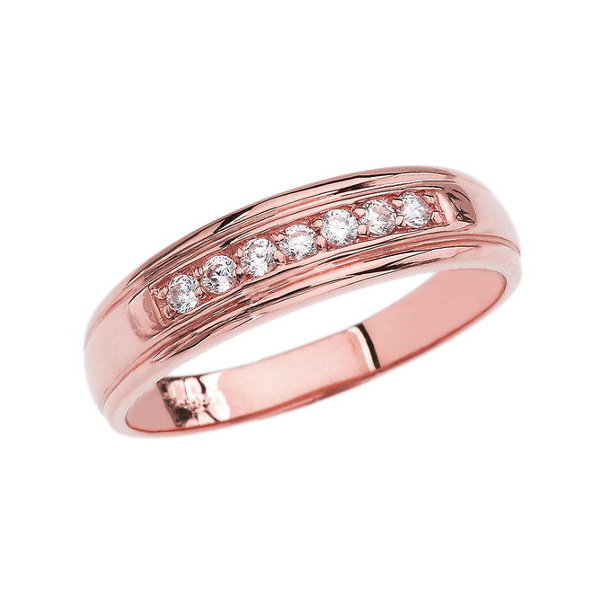 Diamond Men's Wedding Band in Rose Gold