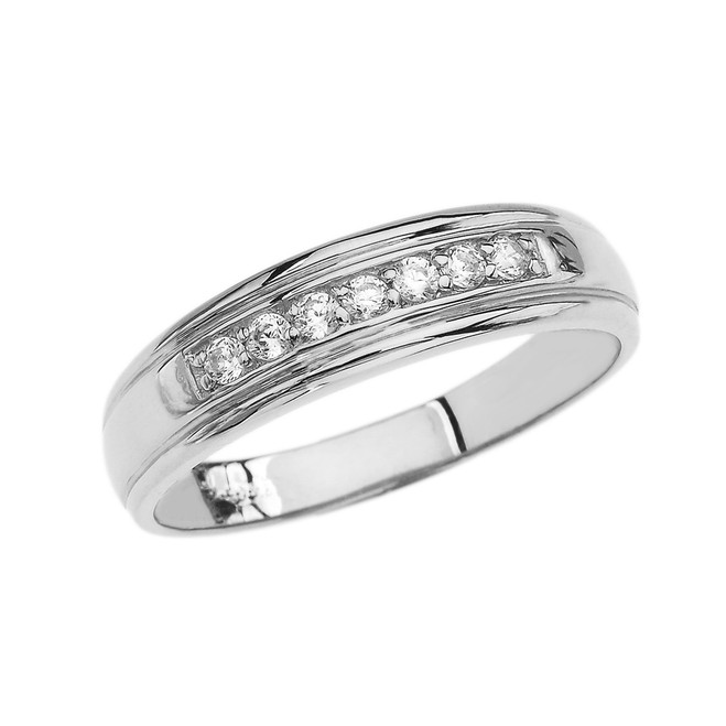 Diamond Men's Wedding Band in White Gold