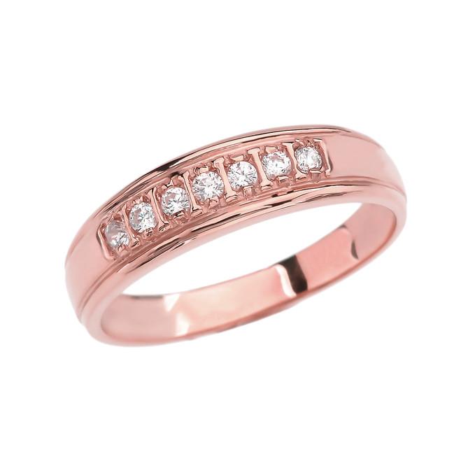 Diamond Wedding Band For Men in Rose Gold