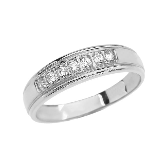 Diamond Wedding Band For Men in White Gold
