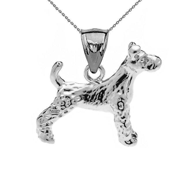 Sterling Silver Irish Terrier Pendant Necklace