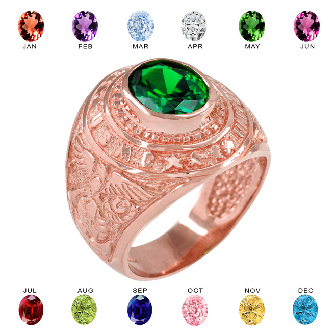 Solid Rose Gold US Marine Corps Men's CZ Birthstone Ring