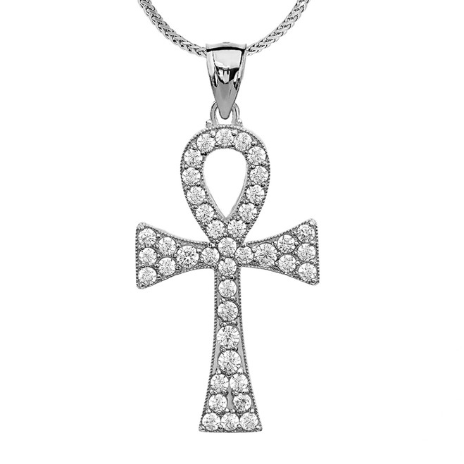 Diamond Ankh Cross White Gold Pendant Necklace