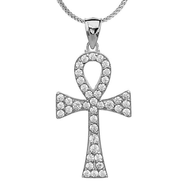 1.5 Carat Cubic Zirconia White Gold Ankh Cross Pendant Necklace