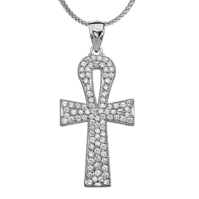 1 Carat Cubic Zirconia White Gold Ankh Cross Pendant Necklace