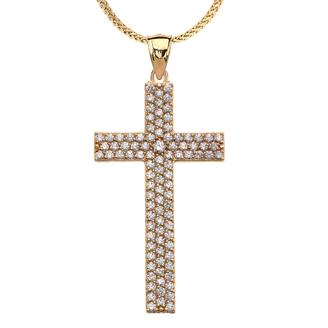 3 Carat Cubic Zirconia Yellow Gold Cross Pendant Necklace