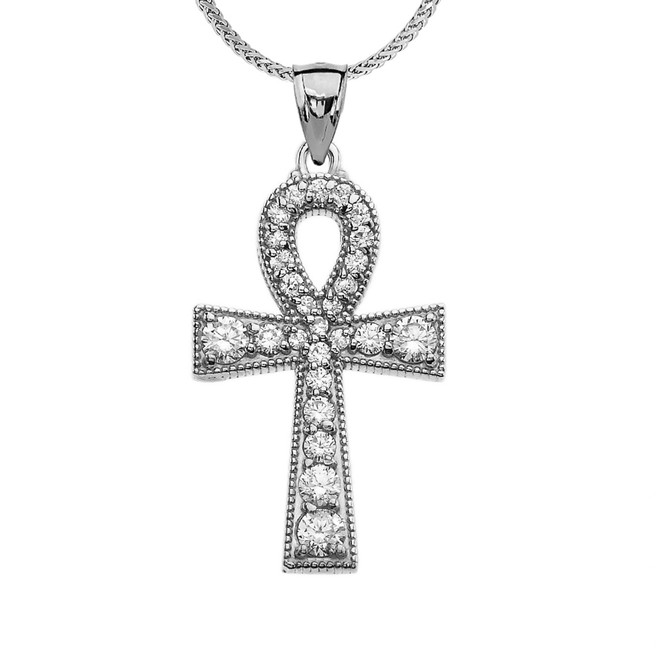 White Gold Ankh Cross Cubic Zirconia Pendant Necklace